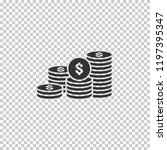 dollar pile coins icon. gold... | Shutterstock .eps vector #1197395347