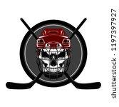 skull in a hockey helmet with... | Shutterstock .eps vector #1197397927