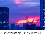 building at the sunset with... | Shutterstock . vector #1197409924