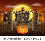 happy halloween background with ... | Shutterstock .eps vector #1197419131