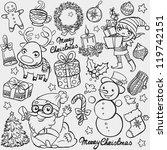 christmas doodles | Shutterstock .eps vector #119742151