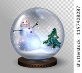 glass snow globe with snowman... | Shutterstock .eps vector #1197428287