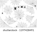 cobwebs and spiders. set of... | Shutterstock .eps vector #1197428491