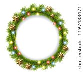 one bunch of fir branches.... | Shutterstock .eps vector #1197433471