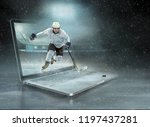 caucassian ice hockey player in ... | Shutterstock . vector #1197437281