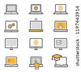 laptop flat line icons. set of... | Shutterstock .eps vector #1197443914