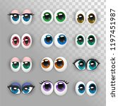 a set of funny eyes on a...   Shutterstock .eps vector #1197451987