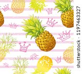 pineapple seamless pattern ... | Shutterstock .eps vector #1197463327