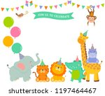 cute wildlife cartoon animals... | Shutterstock .eps vector #1197464467