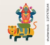 hindu deity. legend of kali.... | Shutterstock .eps vector #1197478144