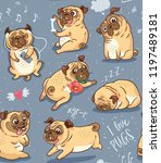 seamless pattern with cute and... | Shutterstock .eps vector #1197489181