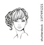 face of a beautiful young woman ... | Shutterstock .eps vector #1197491221