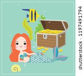 cute little mermaid with sea... | Shutterstock .eps vector #1197491794