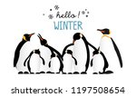 hello winter with cute penguins ... | Shutterstock .eps vector #1197508654