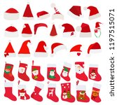santa hats and socks for gifts | Shutterstock .eps vector #1197515071