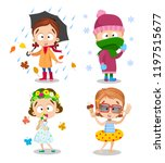 four seasons outdoors kids... | Shutterstock .eps vector #1197515677