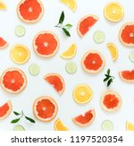 citrus fruits pattern... | Shutterstock . vector #1197520354