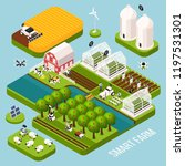 smart farm isometric set with... | Shutterstock .eps vector #1197531301