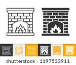 fireplace black linear and... | Shutterstock .eps vector #1197533911