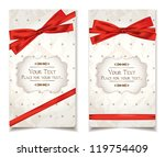 vintage cards with red ribbons | Shutterstock .eps vector #119754409