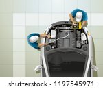 two workers at the service... | Shutterstock . vector #1197545971