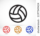 volleyball ball outline vecto | Shutterstock .eps vector #1197549424