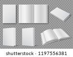 book mockup. blank white closed ... | Shutterstock .eps vector #1197556381