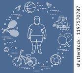 fat boy  badminton rackets and... | Shutterstock .eps vector #1197570787