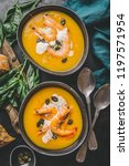 autumn food   pumpkin soup with ... | Shutterstock . vector #1197571954