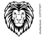 Stock vector a lion head logo in black and white this is vector illustration ideal for a mascot and tattoo or 119757397