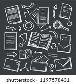 office paper and magnifying... | Shutterstock .eps vector #1197578431