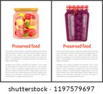 preserved food banners  fruits... | Shutterstock .eps vector #1197579697