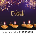 purple happy diwali greeting... | Shutterstock .eps vector #1197583954
