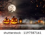 halloween pumpkins on old... | Shutterstock . vector #1197587161