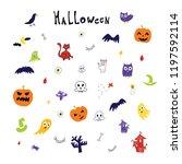 halloween doodle illustrations...   Shutterstock . vector #1197592114