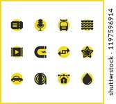 industry icons set with export  ...