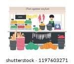 greengrocer seller standing at... | Shutterstock .eps vector #1197603271