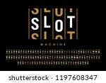 slot machine style modern font  ... | Shutterstock .eps vector #1197608347