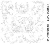 decorative hand drawn herbs ... | Shutterstock .eps vector #1197608584