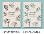 set of trendy hand drawn palm... | Shutterstock .eps vector #1197609361