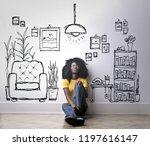 afro woman wondering in front... | Shutterstock . vector #1197616147