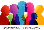 talking crowd. dialogue between ... | Shutterstock . vector #1197623947