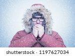 frozen man in red winter... | Shutterstock . vector #1197627034