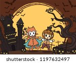 halloween kids costume party.... | Shutterstock .eps vector #1197632497