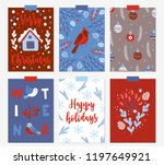 set of christmas greeting cards ... | Shutterstock .eps vector #1197649921