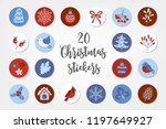 christmas circle stickers with... | Shutterstock .eps vector #1197649927