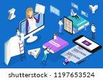 online language courses concept.... | Shutterstock .eps vector #1197653524