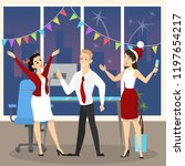 people have fun on the office... | Shutterstock .eps vector #1197654217