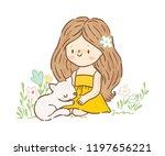 cute little girland kitty ...   Shutterstock .eps vector #1197656221