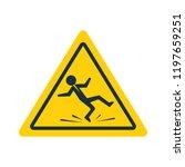 floor sign of danger. wet floor ... | Shutterstock .eps vector #1197659251